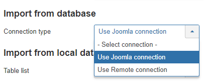 Local database select connection type