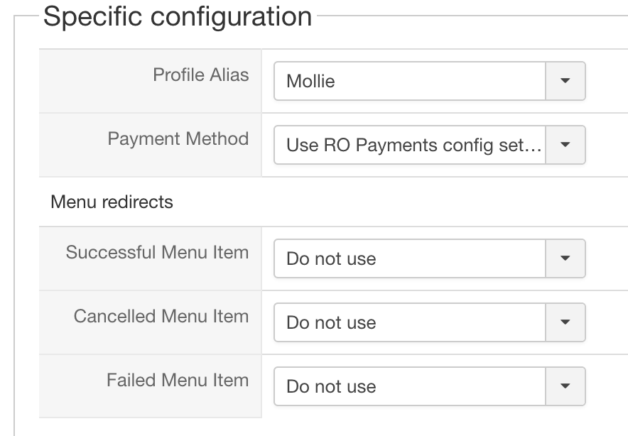 HikaShop RO Payments specific configuration