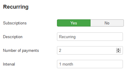 RO Payments Recurring Payments Settings